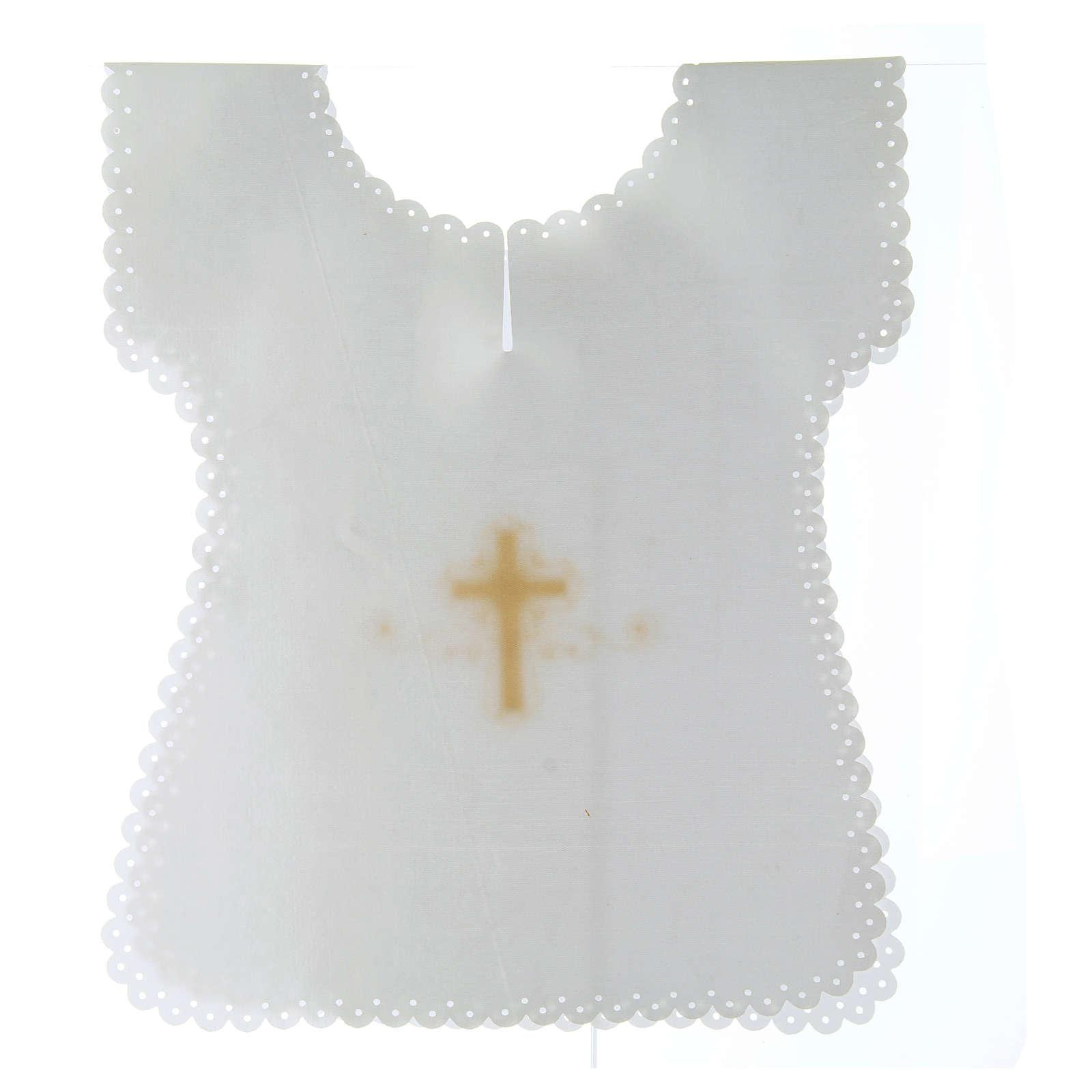 Aube baptême en satin Croix or 38x31 cm 4