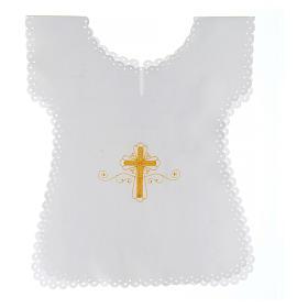 Aube baptême en satin Croix or 38x31 cm s1