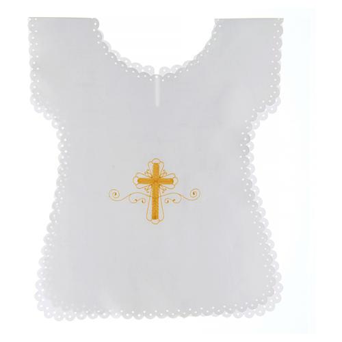 Aube baptême en satin Croix or 38x31 cm 1