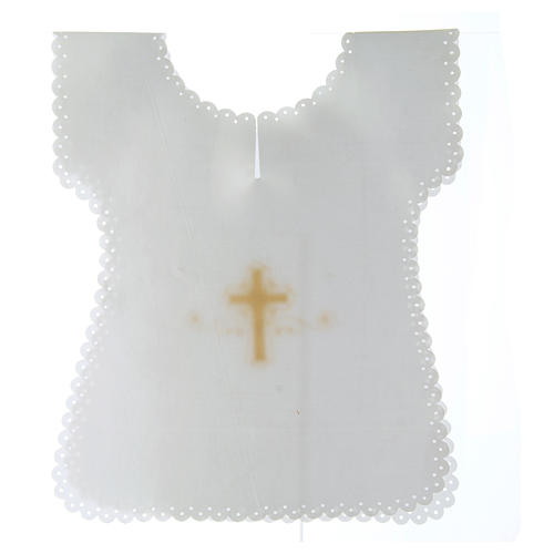 Aube baptême en satin Croix or 38x31 cm 2