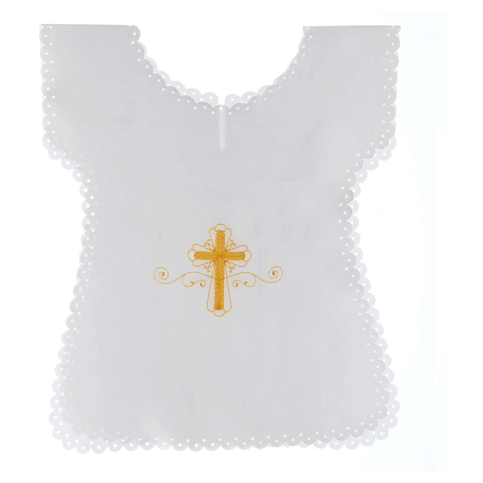 Baptism gown in satin with golden cross 38X31 cm 4