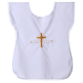 Trajecito para bautismo con bordado cruz s1