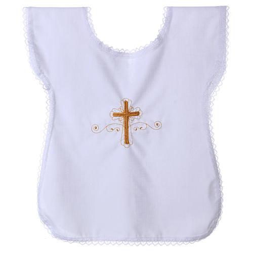 Trajecito para bautismo con bordado cruz 1