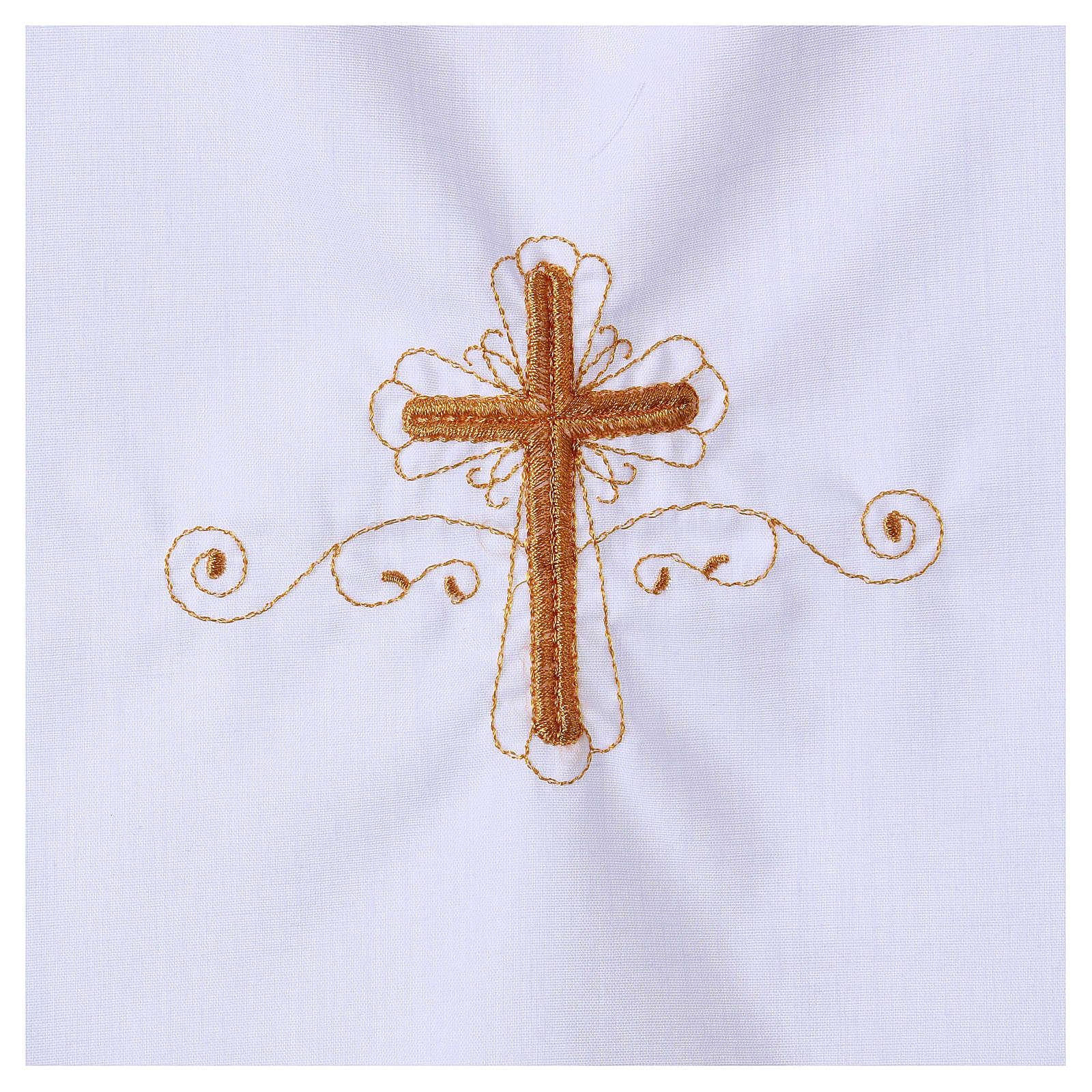 Aube pour baptême avec broderie croix 4