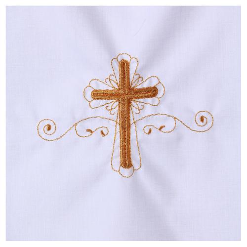 Aube pour baptême avec broderie croix 2
