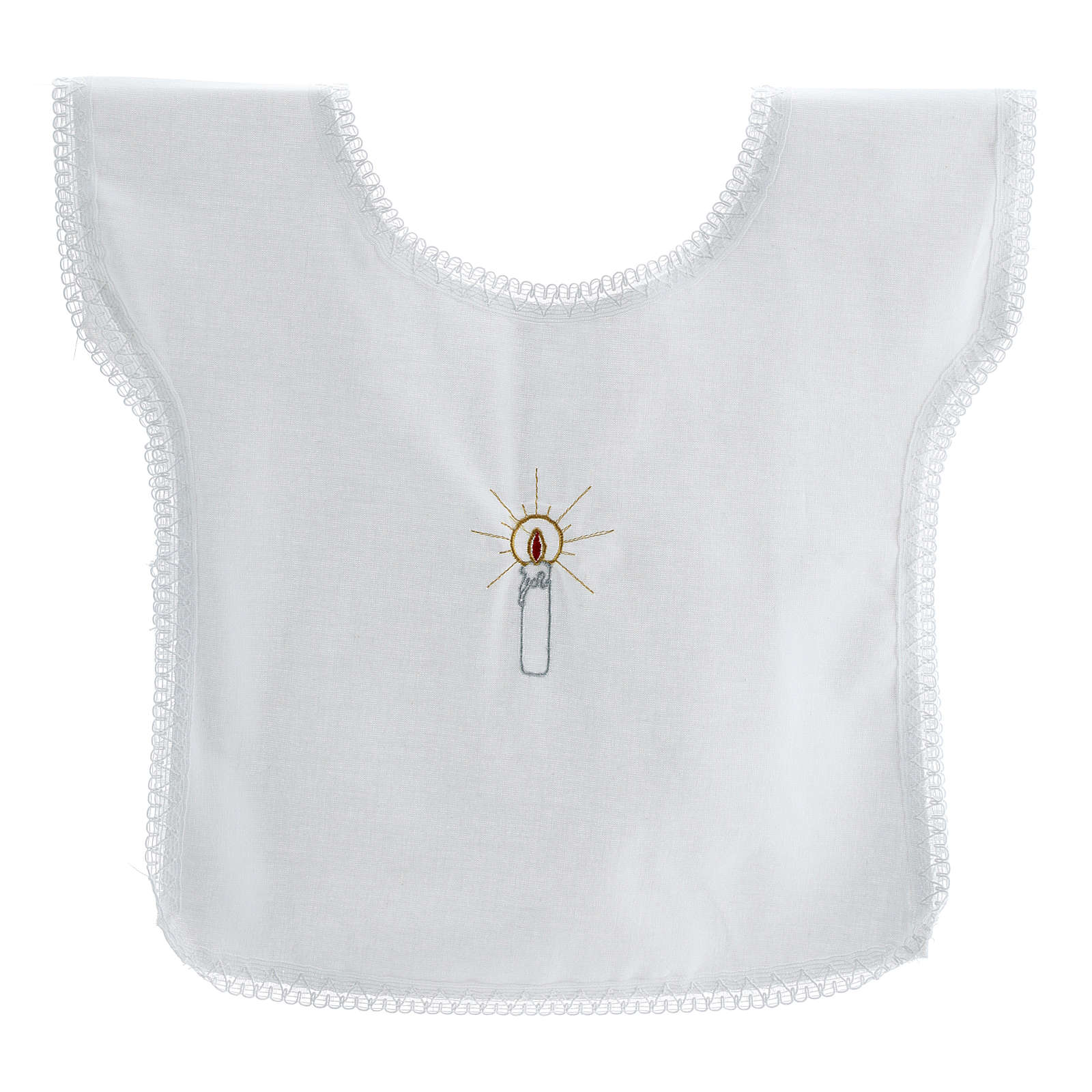 Baptismal shirt with candle 100% cotton 4