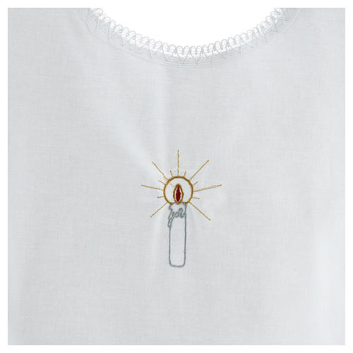 Baptismal shirt with candle 100% cotton 2