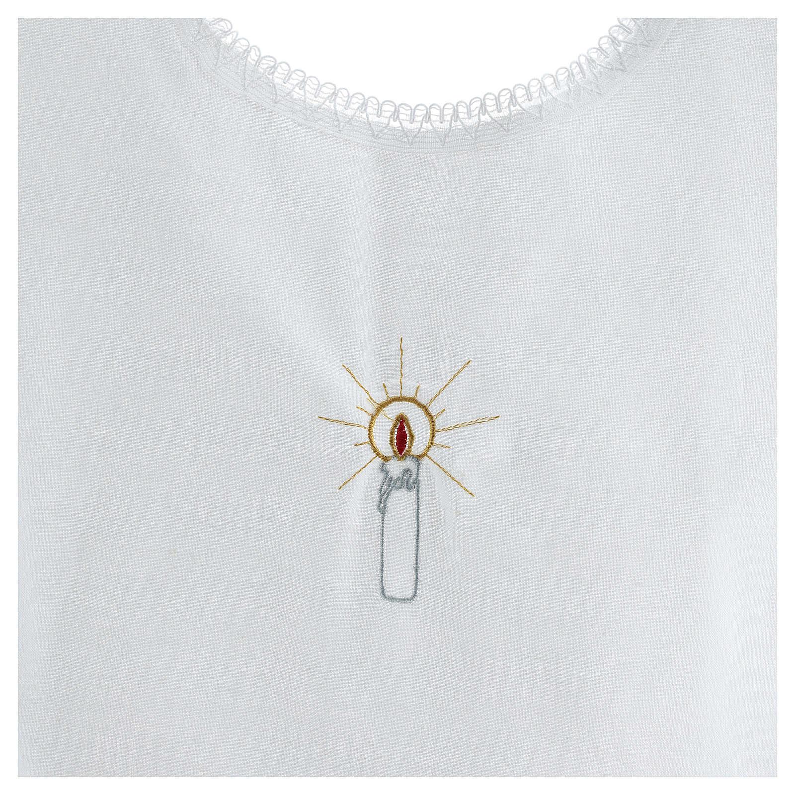 Túnica batismo bordado vela 100% algodão 4