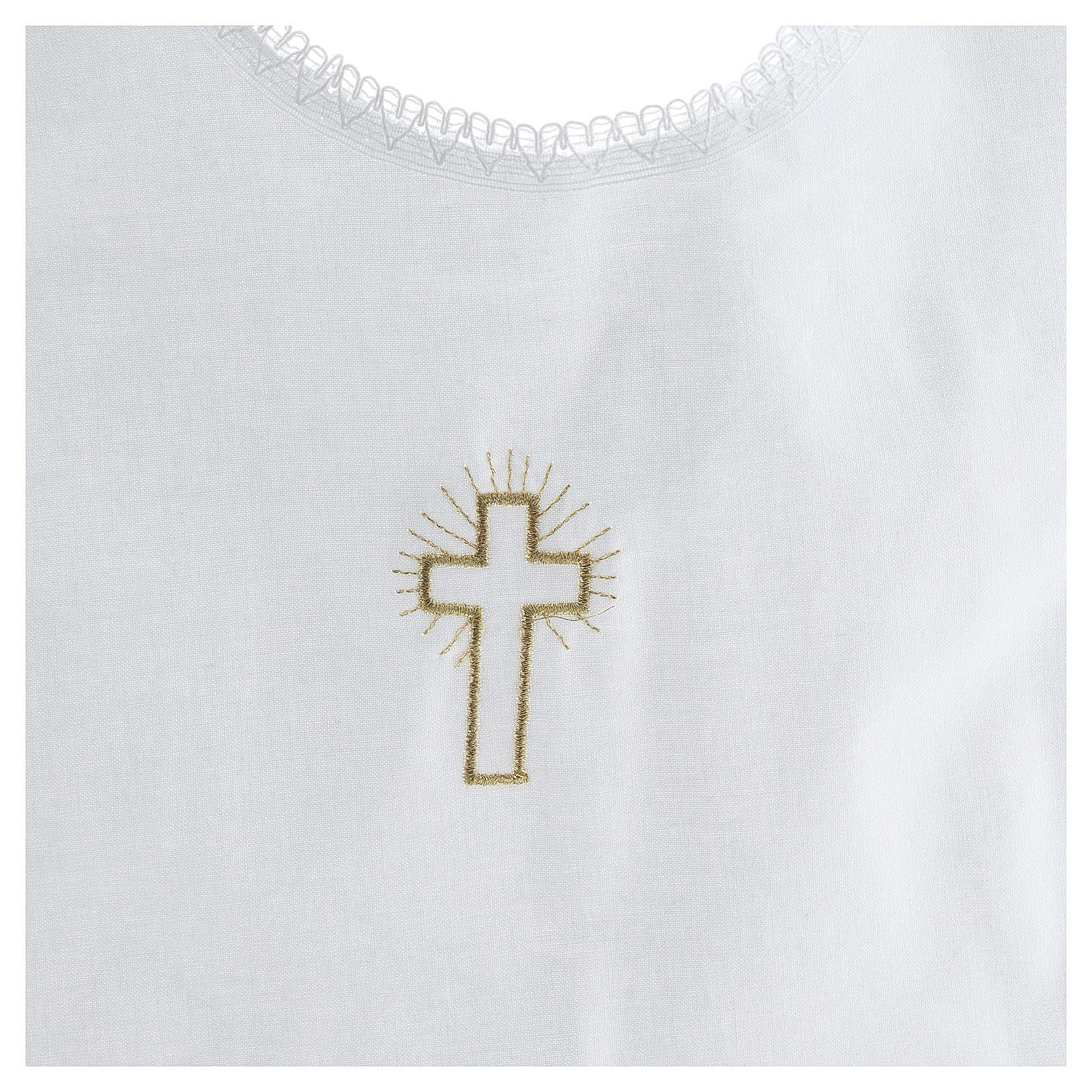 Aube baptême croix 100% coton 4