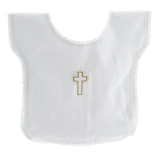 Aube baptême croix 100% coton 1