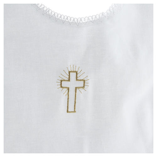 Aube baptême croix 100% coton 2