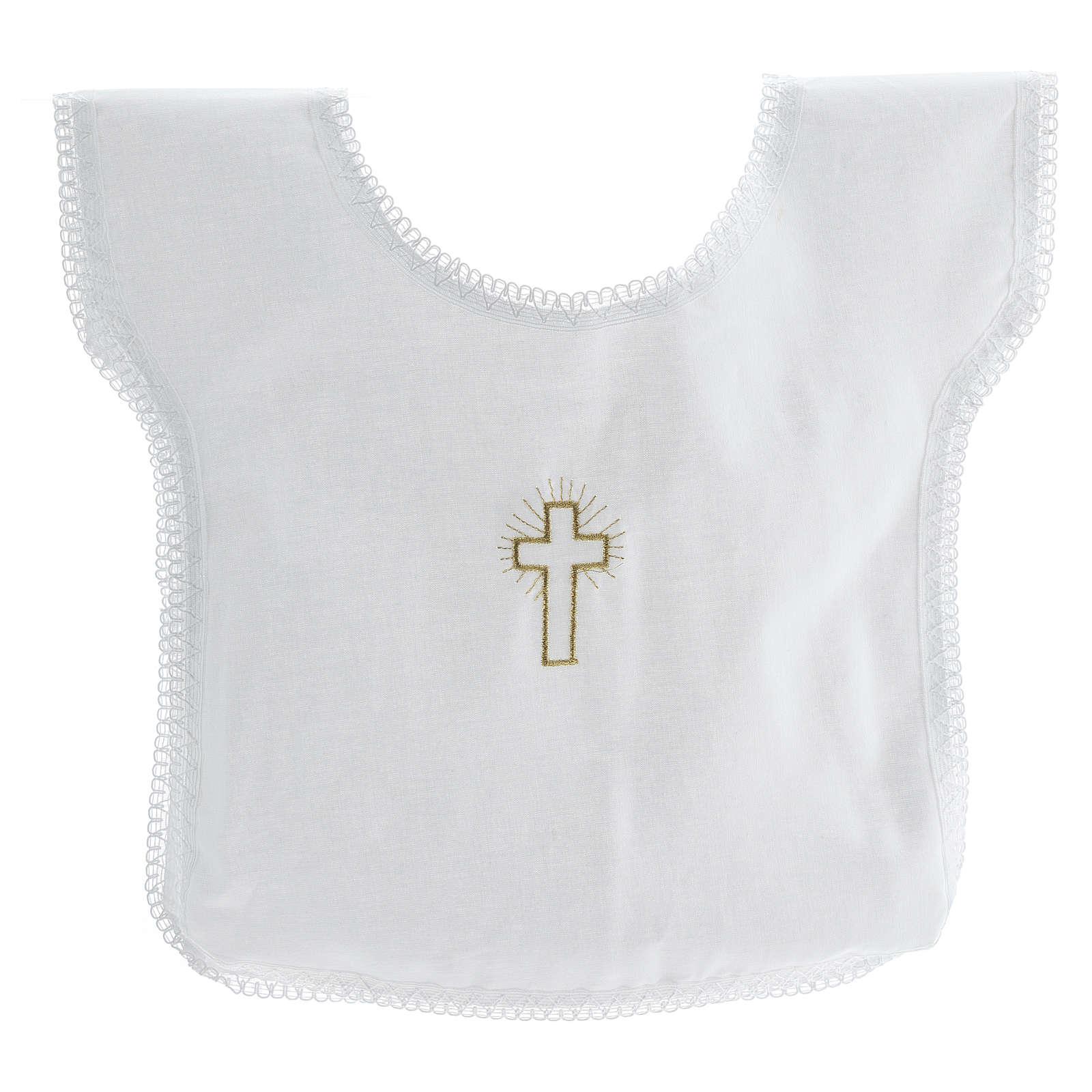Túnica batismo bordado cruz 100% algodão 4