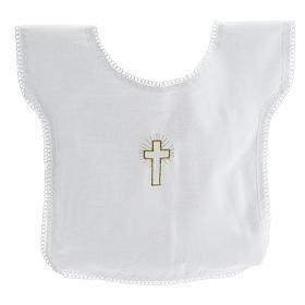 Túnicas e Velas para Batizado: Túnica batismo bordado cruz 100% algodão