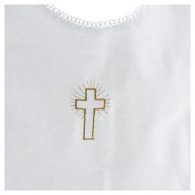 Túnica batismo bordado cruz 100% algodão s2