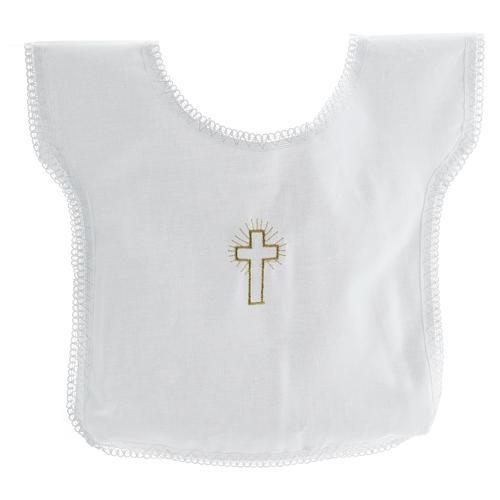 Túnica batismo bordado cruz 100% algodão 1