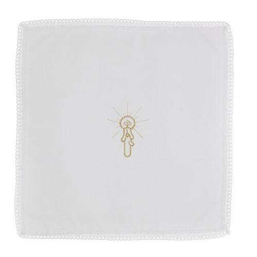 Fazzoletti da battesimo 10 pz bianco misto cotone con strass centrale 3