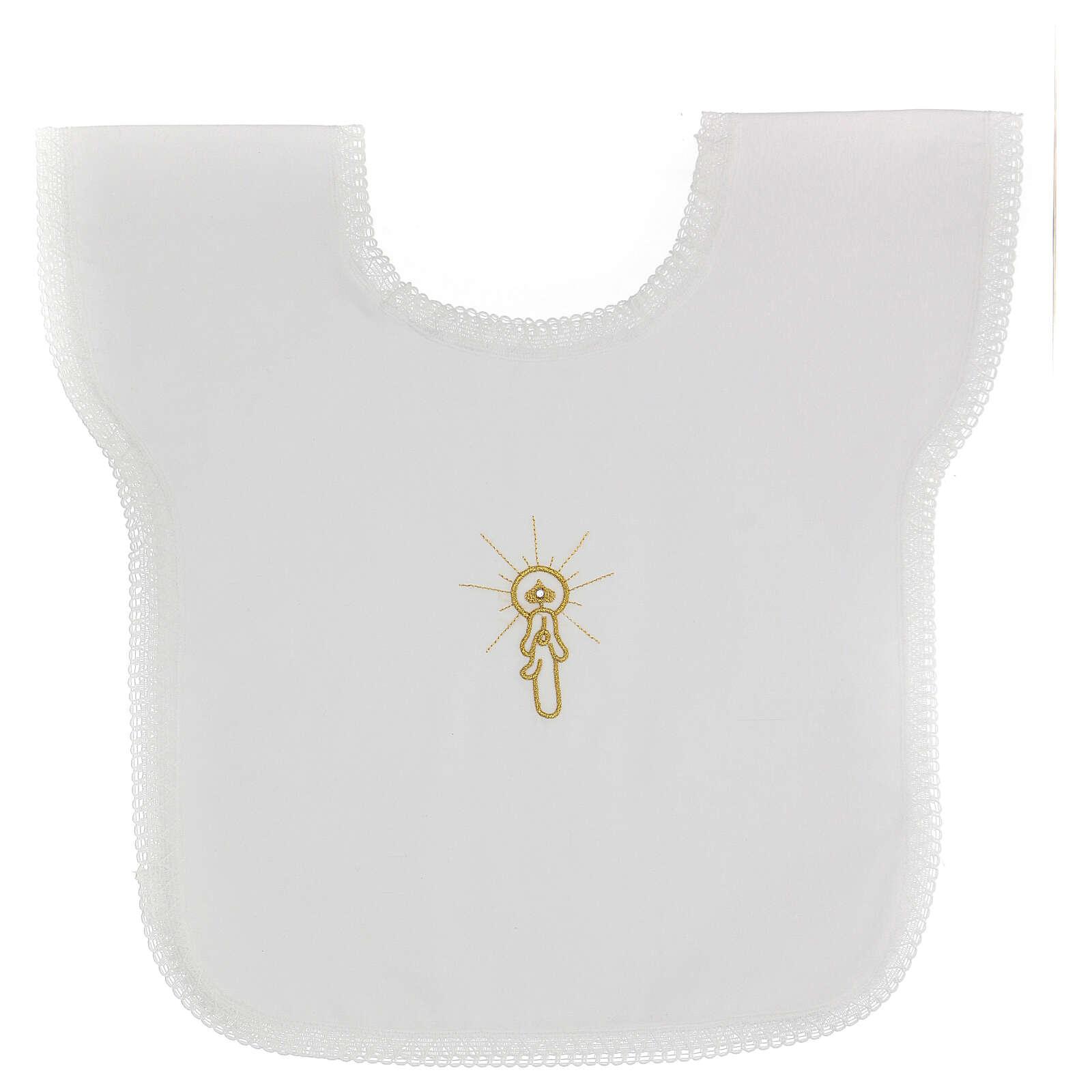 Set battesimo vestina e fazzoletto 10 pz misto cotone bianco con strass 4