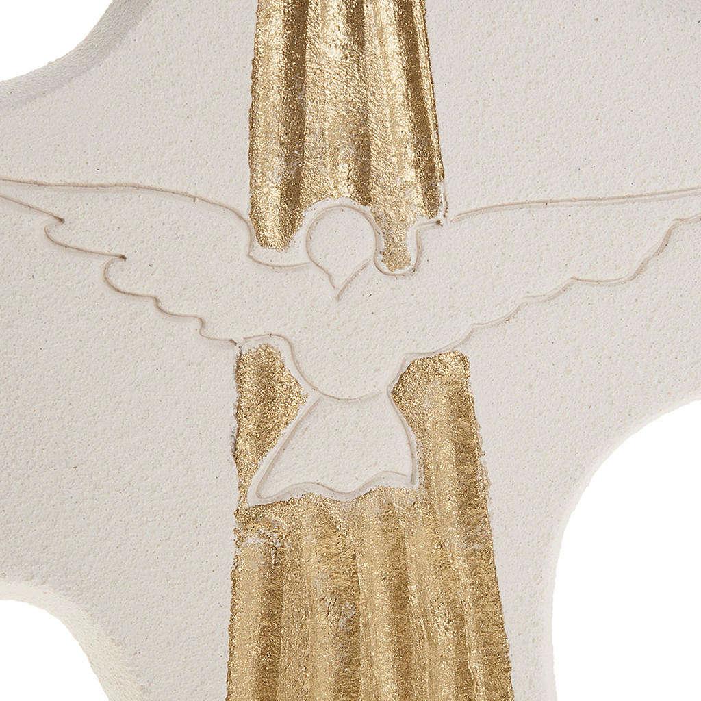 Crucifix Confirmation Saint-Esprit argile blanche cm 15 3