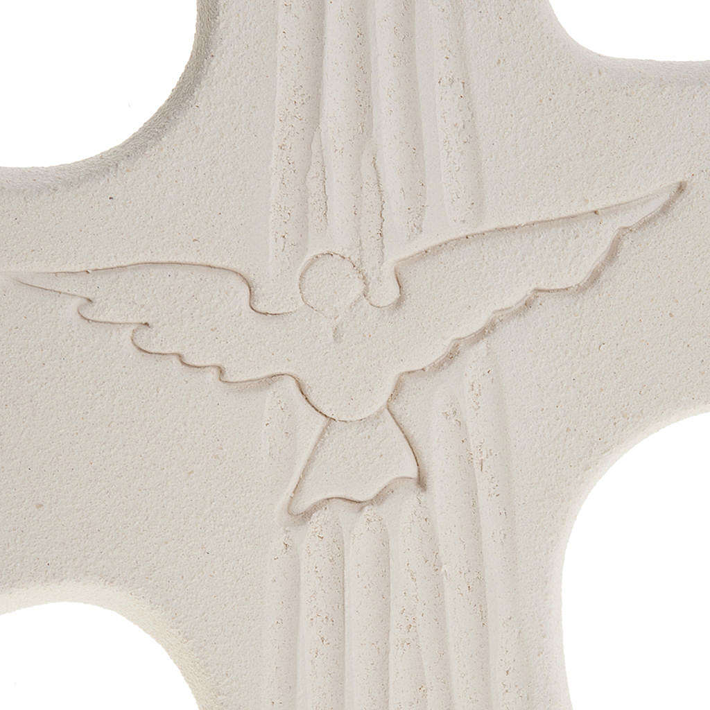 Cruz Crisma Espírito Santo argila branco ouro 15 cm 3