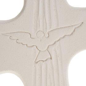 Cruz Crisma Espírito Santo argila branco ouro 15 cm s3