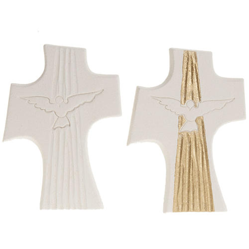 Cruz Crisma Espírito Santo argila branco ouro 15 cm 1