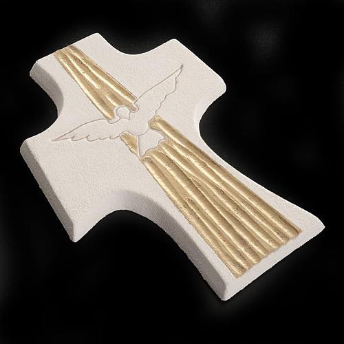 Cruz Crisma Espírito Santo argila branco ouro 15 cm 4