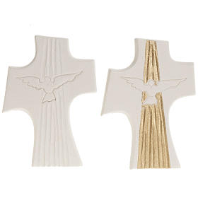 Bas-relief Crucifix  Confirmation Holy Spirit, white or gold 15 s1