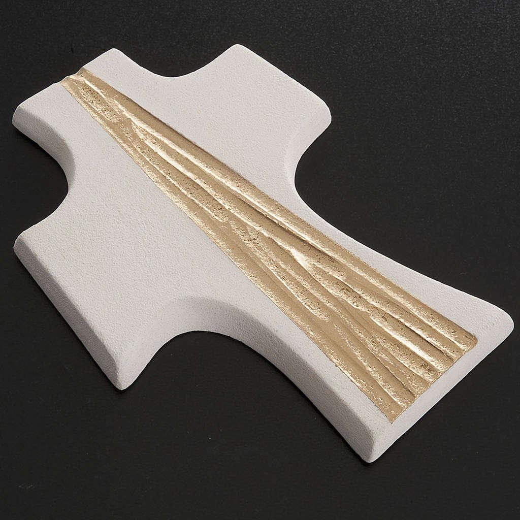 Cruz de confirmación estilizada Blanco con dorado 15 cm 3