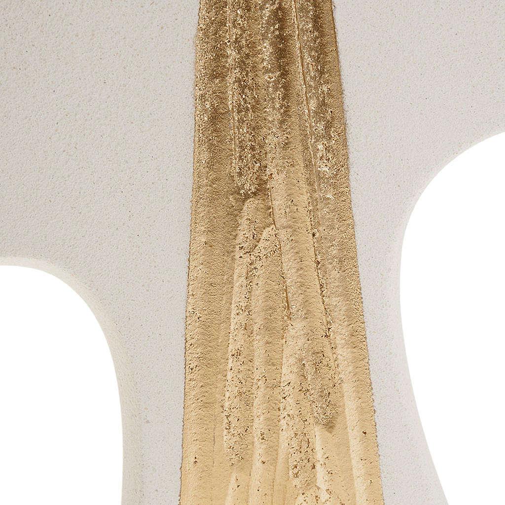 Croce Cresima stilizzata bianca oro argilla 15 cm 3