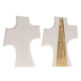 Croce Cresima stilizzata bianca oro argilla 15 cm s1