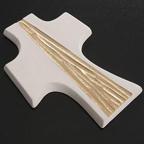 Croce Cresima stilizzata bianca oro argilla 15 cm s3