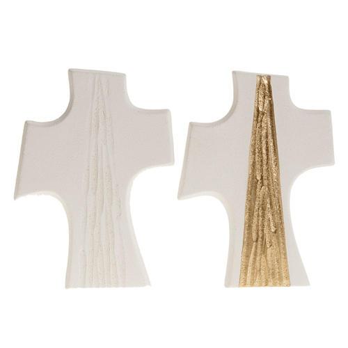 Croce Cresima stilizzata bianca oro argilla 15 cm 1