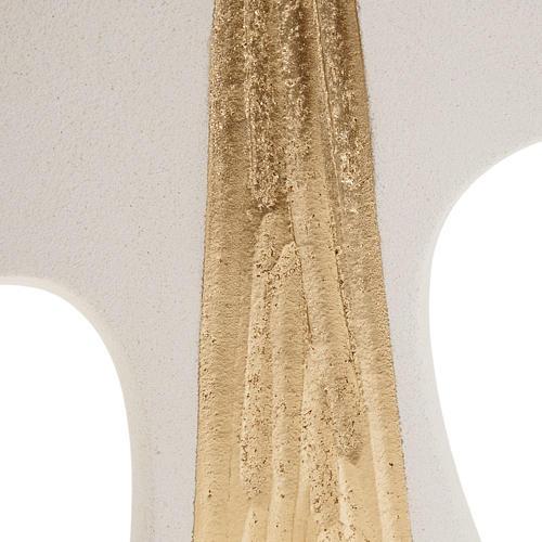 Croce Cresima stilizzata bianca oro argilla 15 cm 2