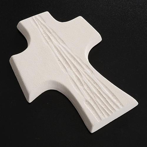 Croce Cresima stilizzata bianca oro argilla 15 cm 4