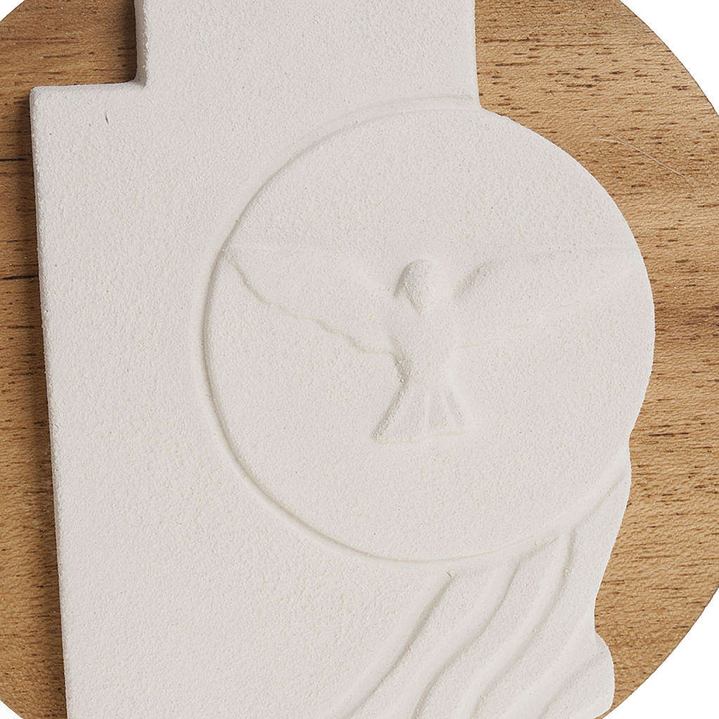 Bas-relief  Holy Spirit Confirmation crucifix, wooden base 3
