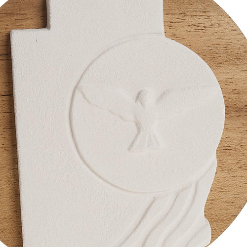 Bas-relief  Holy Spirit Confirmation crucifix, wooden base 2