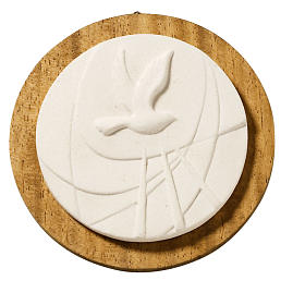 Round white picture with wood, Confirmation s1
