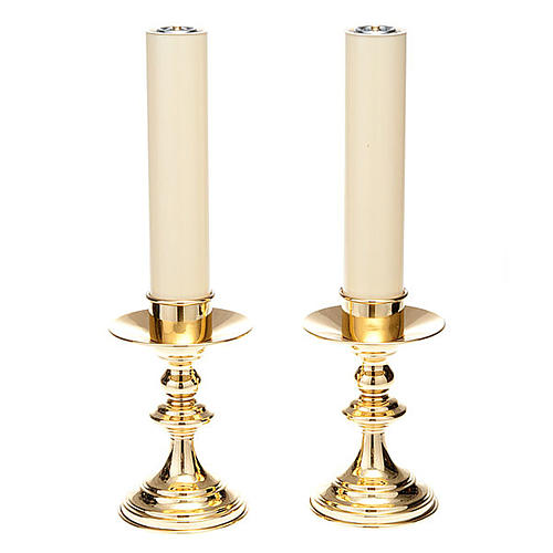 pair of lucid brass candle holders 1