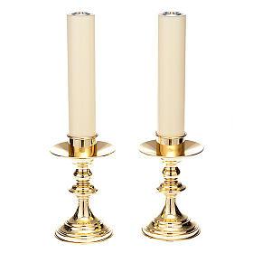 Pareja de candeleros para altar latón lúcido s1
