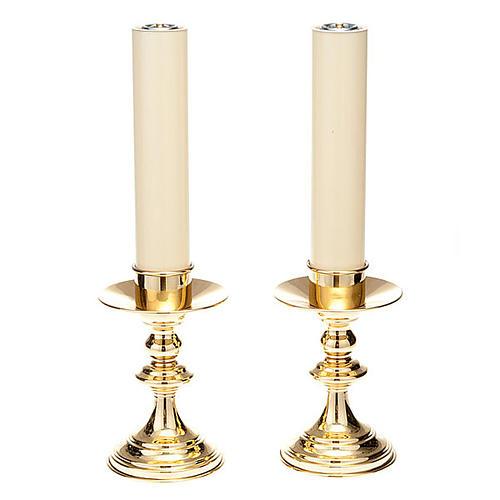 Coppia candelieri altare ottone lucido 1