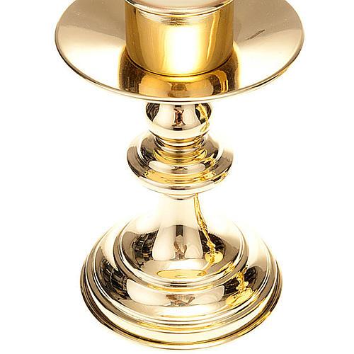 Coppia candelieri altare ottone lucido 4