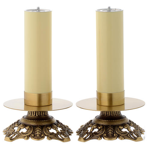 Pair of wrought candle holders 1