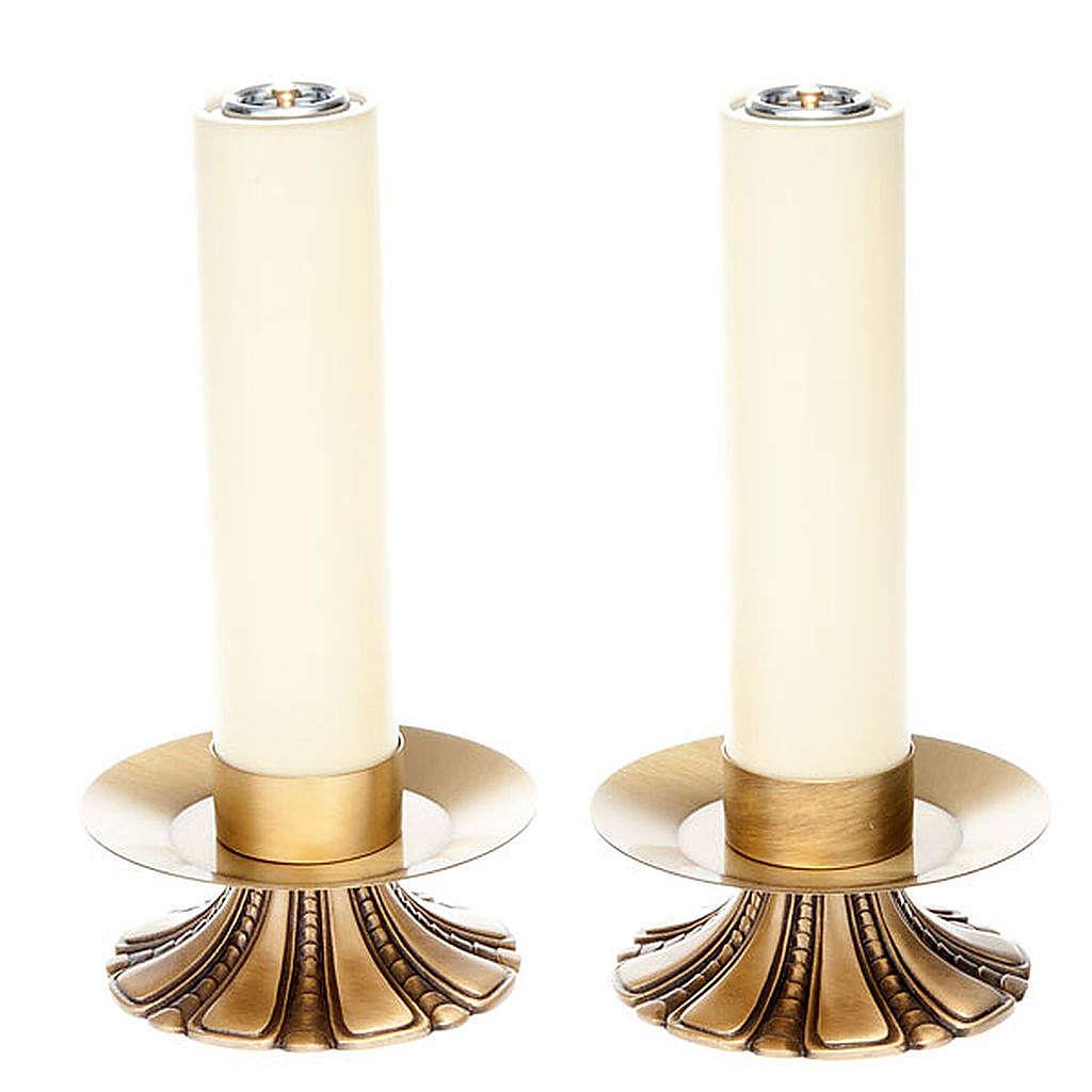 Candelieri altare petali ottone 4