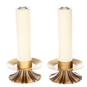 Candelieri altare petali ottone s1