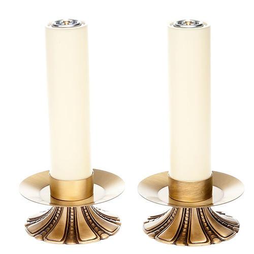 Świeczniki ołtarzowe płatki mosiądz 1