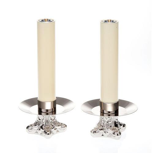 Candelieri in ottone argentato lucido 1