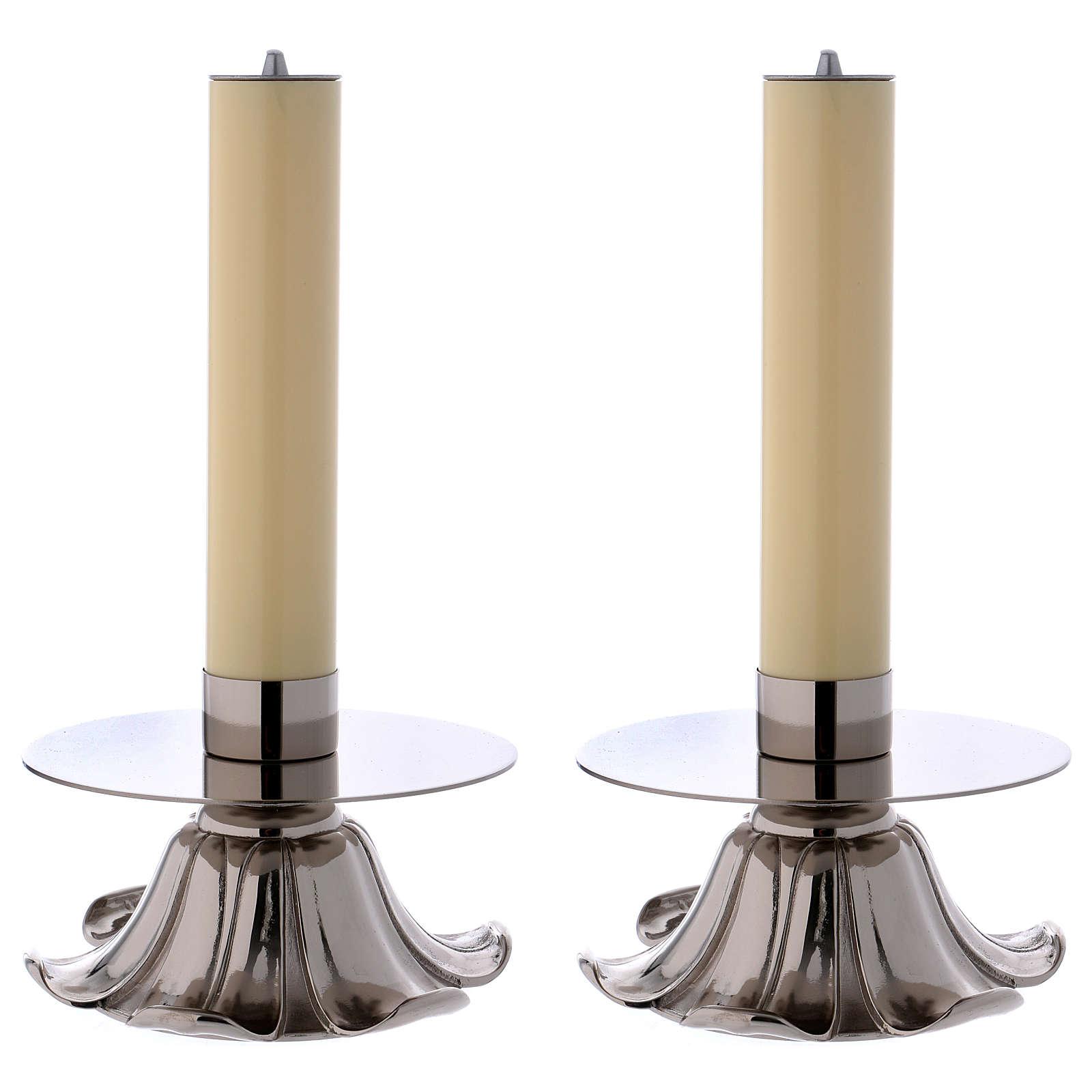 Candelieri in ottone argentato petali 4