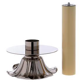 Candelieri in ottone argentato petali s3