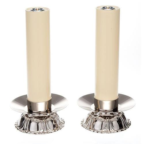 Candelieri in ottone argentato tondo 1