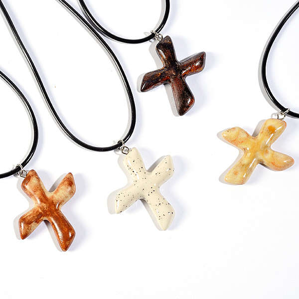 Saint Andrew's clay cross pendant 4